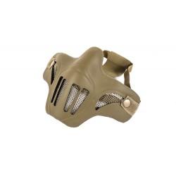 Shell de neoprene de meia máscara facial de malha de aço (cor marrom)