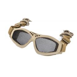 Óculos de proteção de grade com clipe rápido para capacete Tan