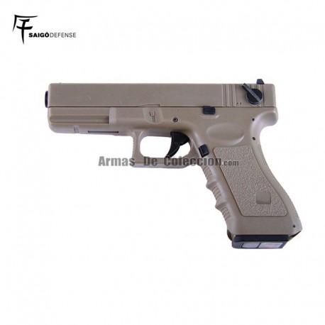 Saigo 18 ( Tipo Glock 18 ) Electrica Tan