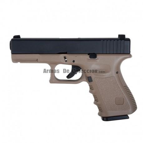 KJW 23 ( Tipo Glock 23 ) Pistola 6MM Gas BlowBack Tan/Black