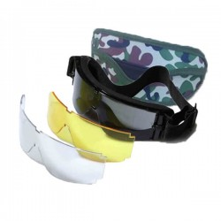 Goggles Airsoft Interchangeable Lenses GX 800 Camo Cover Black