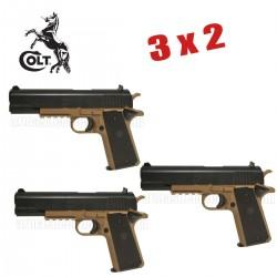 Pack 3x2 - COLT 1911 Corps TAN Pistola 6MM Muelle