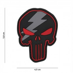 3D Punisher Thunder PVC Patch Black / Red