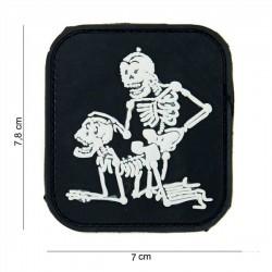 Parche PVC 3D 2 Esqueletos Negro / Blanco