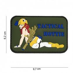 Hottie tático da mulher do remendo do PVC 3D verde / amarelo