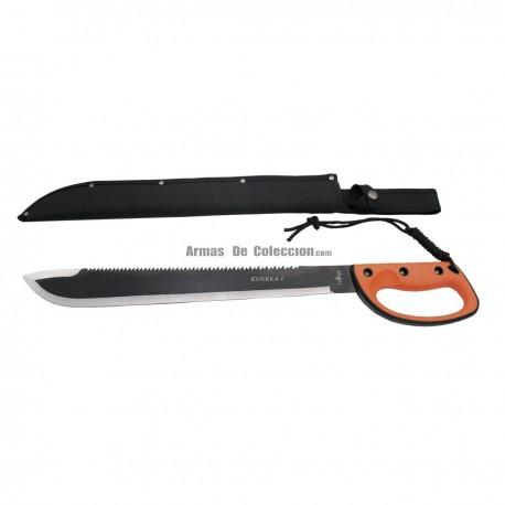 Machete cortacañas Third S2020 hoja de acero inox de 45 cm con mango de ABS y goma fundida, con funda de nylon.