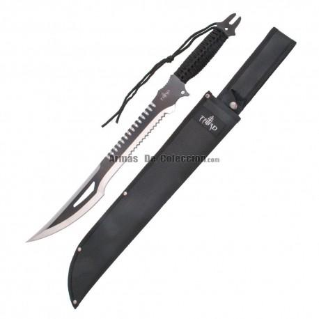 Machete corta cañas Third H0063BK hoja de acero 420 de 47 cm, mango de cuerda trenzada negra y funda de nylon.