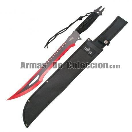 Machete corta cañas Third H0063RD hoja de acero 420 de 47 cm con el corte anodizado rojo, mango de cuerda trenzada y funda.