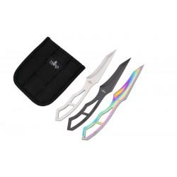 Set de cuchillos lanzadores Third H7121 de 3 piezas de 18.5 cm de acero 420 en tres acabados negro, satinado y rainbow. Funda