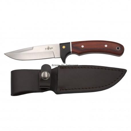 Cuchillo de caza Third 12051PW, con hoja de acero de 10,6 cm acabado satinado, mango de pakkawood y madera negra, funda de piel.