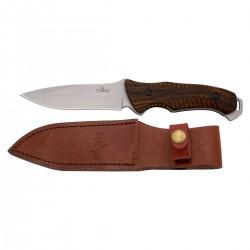 Cuchillo de caza Third H0738RD, con hoja de acero de 12,5 cm acabado satinado, mango de pakkawood, con funda de piel.