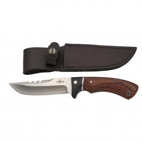 Cuchillo de caza Third 13572PW, con hoja de acero 440 de 12,4 cm acabado satinado, mango de pakkawood y madera negra,funda
