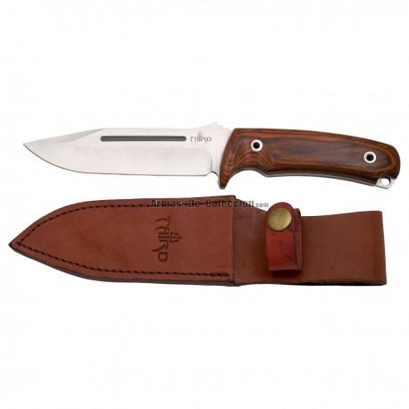 Cuchillo de caza Third H0182W con hoja de acero de 13,2 cm, mango de pakkawood, con funda de piel.