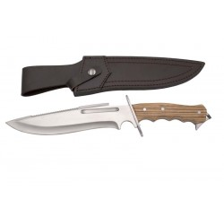 Cuchillo de caza Third 16732ZW, con hoja de acero 440 de 23.4 cm acabado satinado, mango de madera, con funda de piel.