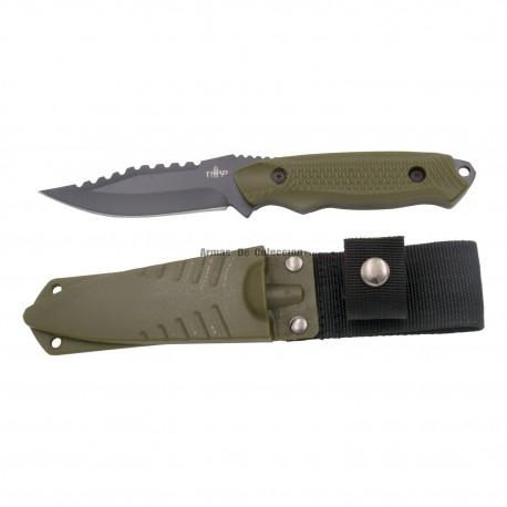 Cuchillo táctico Third H0061BK con hoja de acero 420 de 9.3 cm en negro, mango de ABS verde, funda ABS verde.