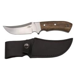 Cuchillo de caza Third 15024ZW, con hoja de acero 440 de 12 cm acabado satinado, mango de madera, con funda de piel.
