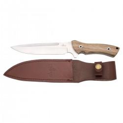 Cuchillo de caza Third H0257J con hoja de acero de 18 cm, mango de madera (zebrano), con funda de piel.