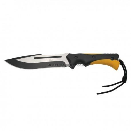Cuchillo táctico Third 11249 con hoja de acero de 17,5 cm, mango de ABS negro y goma fundida naranja,funda