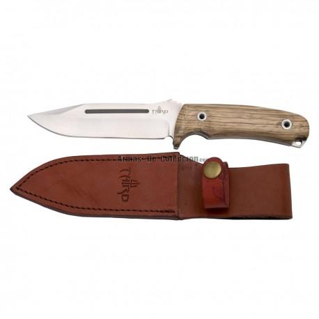 Cuchillo de caza Third H0182J con hoja de acero de 13,2 cm, mango de madera (zebrano), con funda de piel.