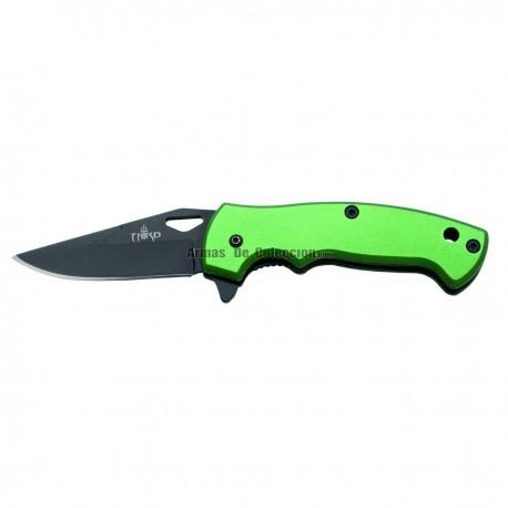 Navaja asisitida Third K2772N, mango de aluminio verde, hoja de acero inox de 6 cm en negro.
