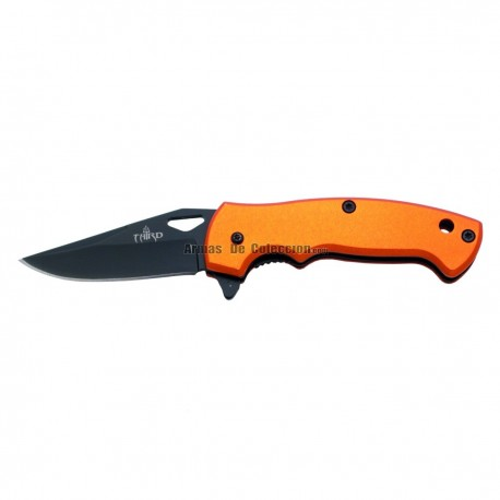 Navaja asisitida Third K2772J, mango de aluminio naranja, hoja de acero inox de 6 cm en negro.