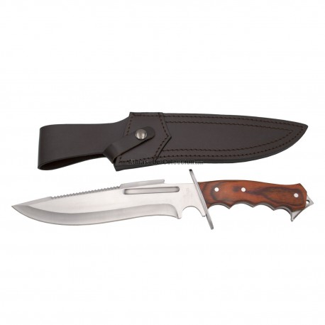 Cuchillo de caza Third 16732PW, con hoja de acero lomo serrado 440 de 23.4 cm acabado satinado, mango de Pakkawood.