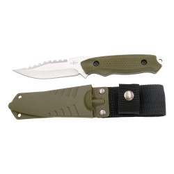Cuchillo táctico Third H0061 con hoja de acero 420 de 9.3 cm, mango de ABS verde, funda ABS verde.