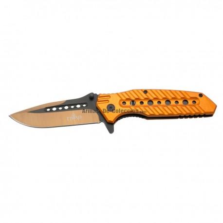 Navaja asistida Third 10344O, mango de aluminio naranja con agujeros.