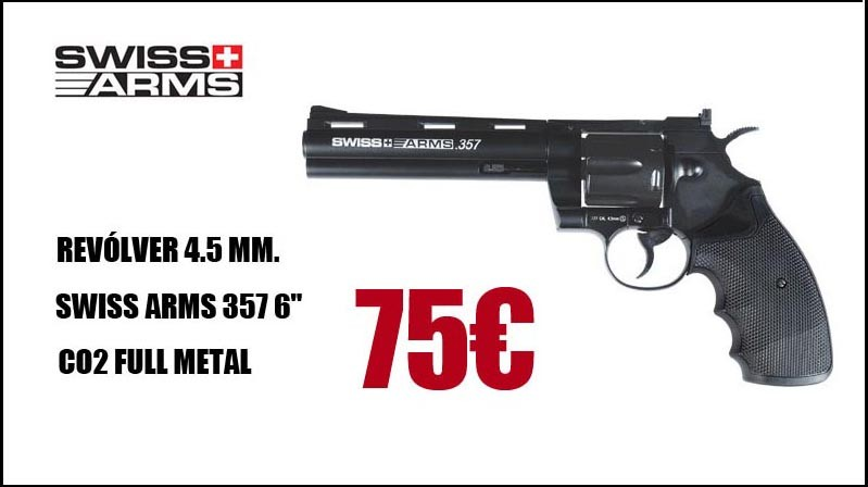 "Comprar Revólver Swiss Arms 357 6"" 4.5MM CO2 Full Metal"
