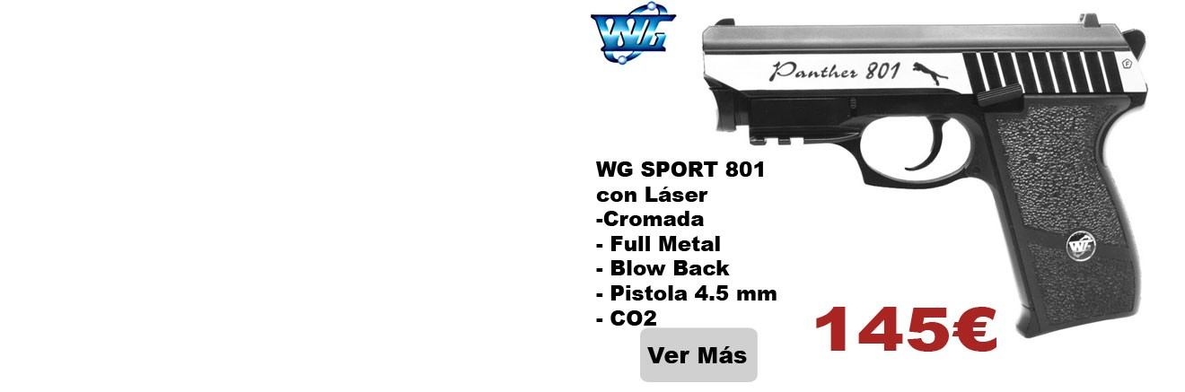 WG SPORT 801 con Láser -Cromada - Full Metal - Blow Back - Pistola 4.5 mm - CO2