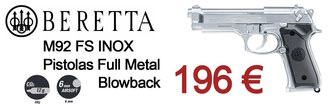 Beretta M92 FS INOX Pistolas 6mm Full Metal Blowback CO2